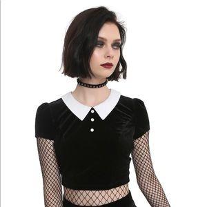 HotTopic Black Velvet Crop top